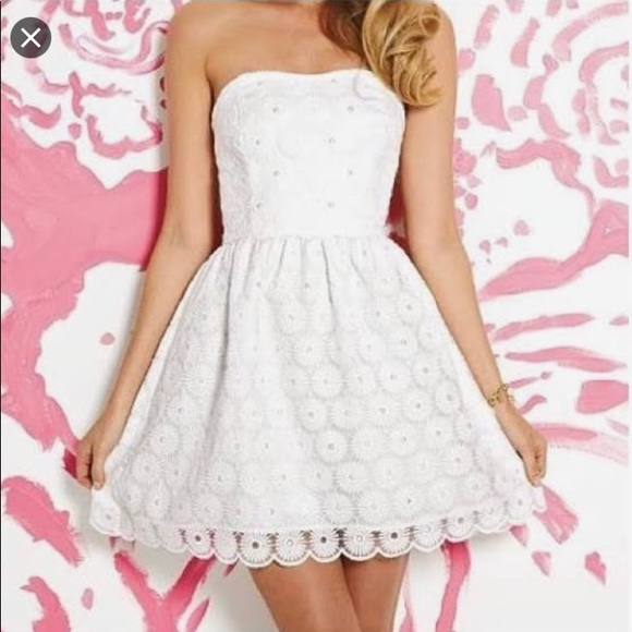 Lilly Pulitzer White Pearl Strapless Dress